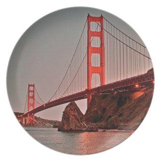Golden Gate Bridge at Sun Down Plate
