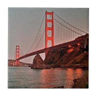 Golden Gate Bridge at Sun Down Small Square Tile