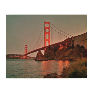 Golden Gate Bridge at Sun Down Wood Wall Art