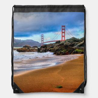 Golden Gate Bridge at sunset Drawstring Bag