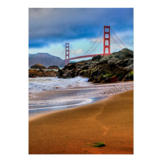 Golden Gate Bridge at sunset Poster