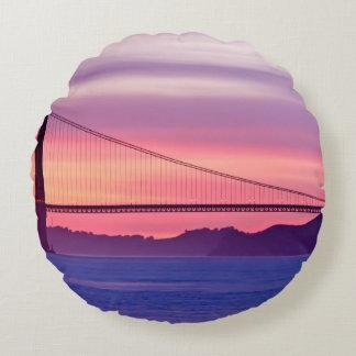 Golden Gate Bridge at Sunset Round Cushion