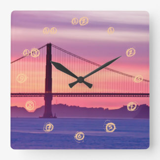Golden Gate Bridge at Sunset Square Wall Clock