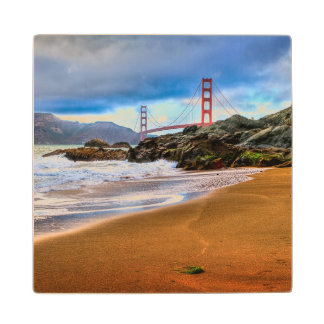 Golden Gate Bridge at sunset Wood Coaster