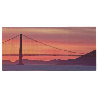 Golden Gate Bridge at Sunset Wood USB 2.0 Flash Drive