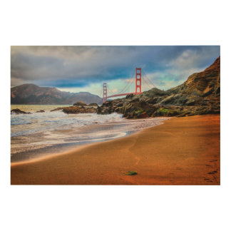 Golden Gate Bridge at sunset Wood Wall Decor