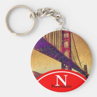 Golden gate bridge basic round button key ring
