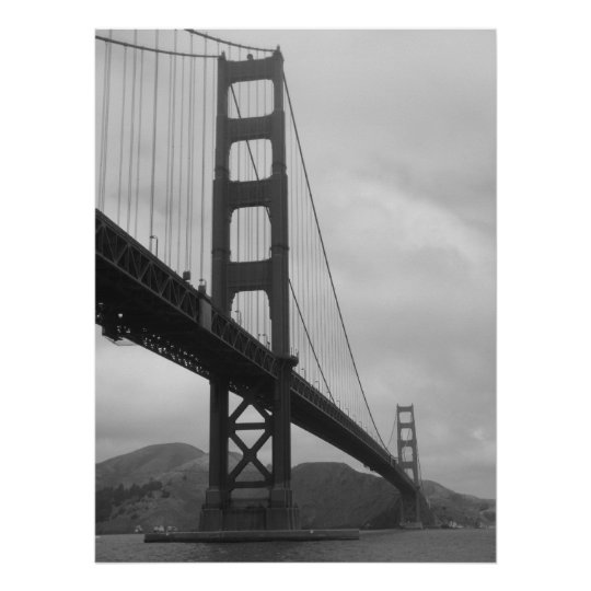 Golden Gate Bridge (Black and White) Poster