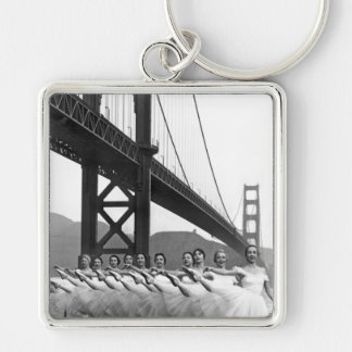 Golden Gate Bridge Dancers Silver-Colored Square Key Ring