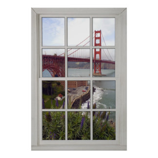 Golden Gate Bridge Faux - Fake White Window Poster