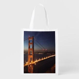 Golden Gate Bridge from Marin headlands Reusable Grocery Bag