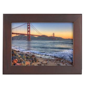 Golden Gate Bridge from San Francisco bay trail. Keepsake Box