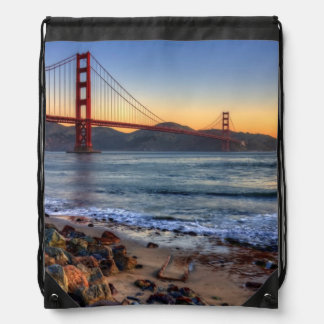 Golden Gate Bridge from San Francisco bay trail Drawstring Backpack