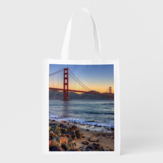 Golden Gate Bridge from San Francisco bay trail. Reusable Grocery Bag
