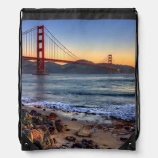Golden Gate Bridge from San Francisco bay trail. Rucksacks