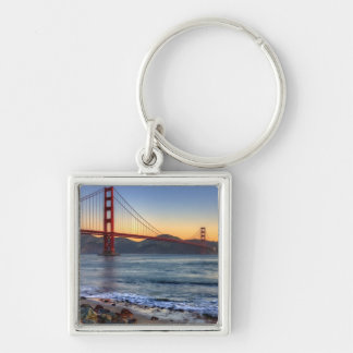 Golden Gate Bridge from San Francisco bay trail. Silver-Colored Square Key Ring