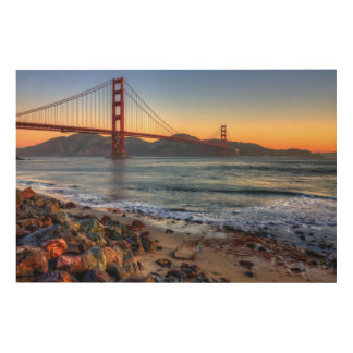 Golden Gate Bridge from San Francisco bay trail. Wood Print