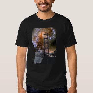 Golden Gate Bridge & Hubble Colliding Galaxies T-shirts