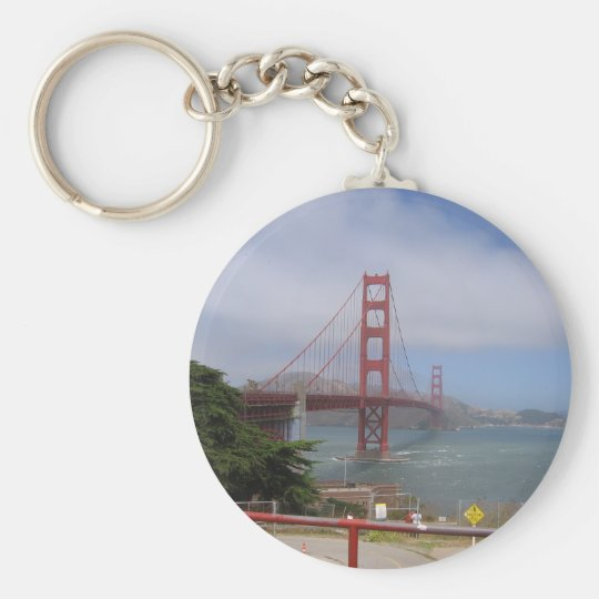 Golden Gate Bridge II Basic Round Button Key Ring