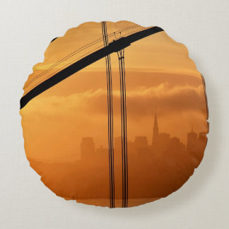 Golden Gate Bridge in front of the San Francisco Round Cushion