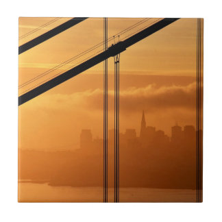 Golden Gate Bridge in front of the San Francisco Small Square Tile
