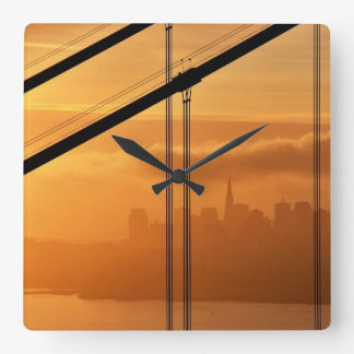 Golden Gate Bridge in front of the San Francisco Square Wall Clock