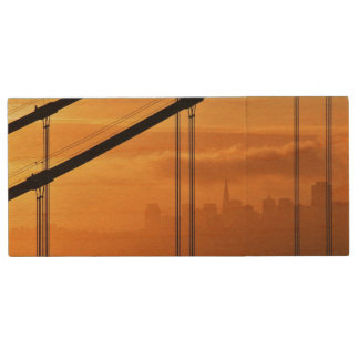 Golden Gate Bridge in front of the San Francisco Wood USB 2.0 Flash Drive