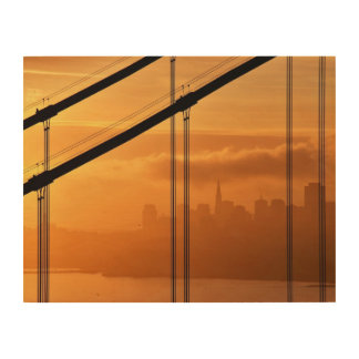 Golden Gate Bridge in front of the San Francisco Wood Wall Decor