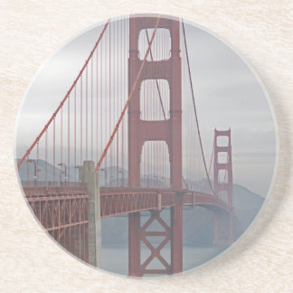 Golden gate bridge in mist. coaster
