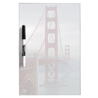 Golden gate bridge in mist. dry erase board