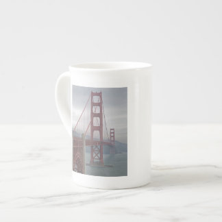 Golden gate bridge in mist. bone china mug