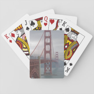 Golden gate bridge in mist. playing cards