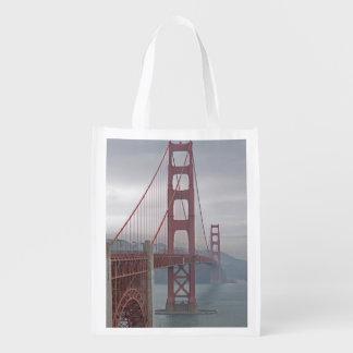 Golden gate bridge in mist. reusable grocery bag