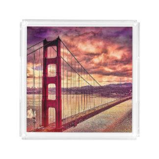 Golden Gate Bridge in San Francisco, California. Acrylic Tray