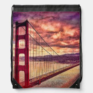 Golden Gate Bridge in San Francisco, California. Drawstring Bag