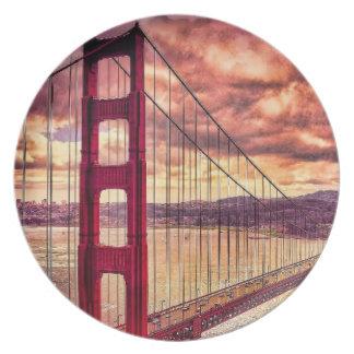 Golden Gate Bridge in San Francisco, California. Plate