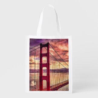 Golden Gate Bridge in San Francisco, California. Reusable Grocery Bag