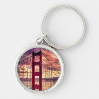 Golden Gate Bridge in San Francisco, California. Silver-Colored Round Key Ring