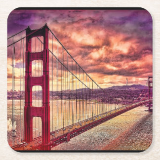 Golden Gate Bridge in San Francisco, California. Square Paper Coaster