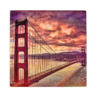 Golden Gate Bridge in San Francisco, California. Wood Coaster