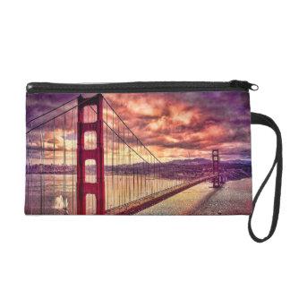 Golden Gate Bridge in San Francisco, California. Wristlet Clutch