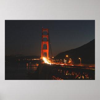 Golden Gate Bridge in the night Poster