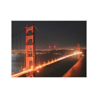 Golden Gate Bridge Lit up At Night - San Francisco Canvas Prints
