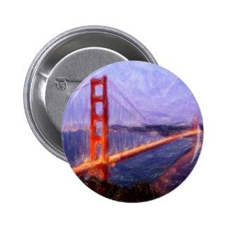 Golden Gate Bridge -- mixed media painting 6 Cm Round Badge
