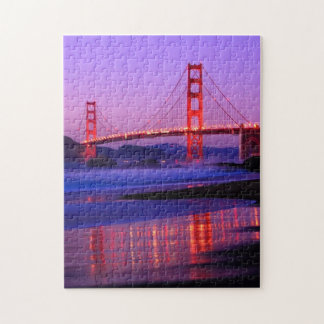 Golden Gate Bridge on Baker Beach at Sundown Jigsaw Puzzle