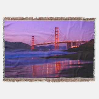 Golden Gate Bridge on Baker Beach at Sundown Throw Blanket