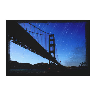 Golden Gate Bridge Photo Edit - Rainy Night Canvas Print