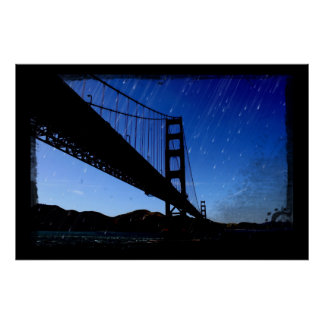 Golden Gate Bridge Photo Edit - Rainy Night Poster