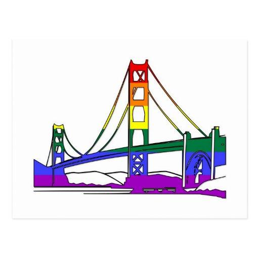 Golden Gate Bridge Rainbow Pride Post Card