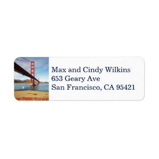 Golden Gate Bridge return address label Vertical
